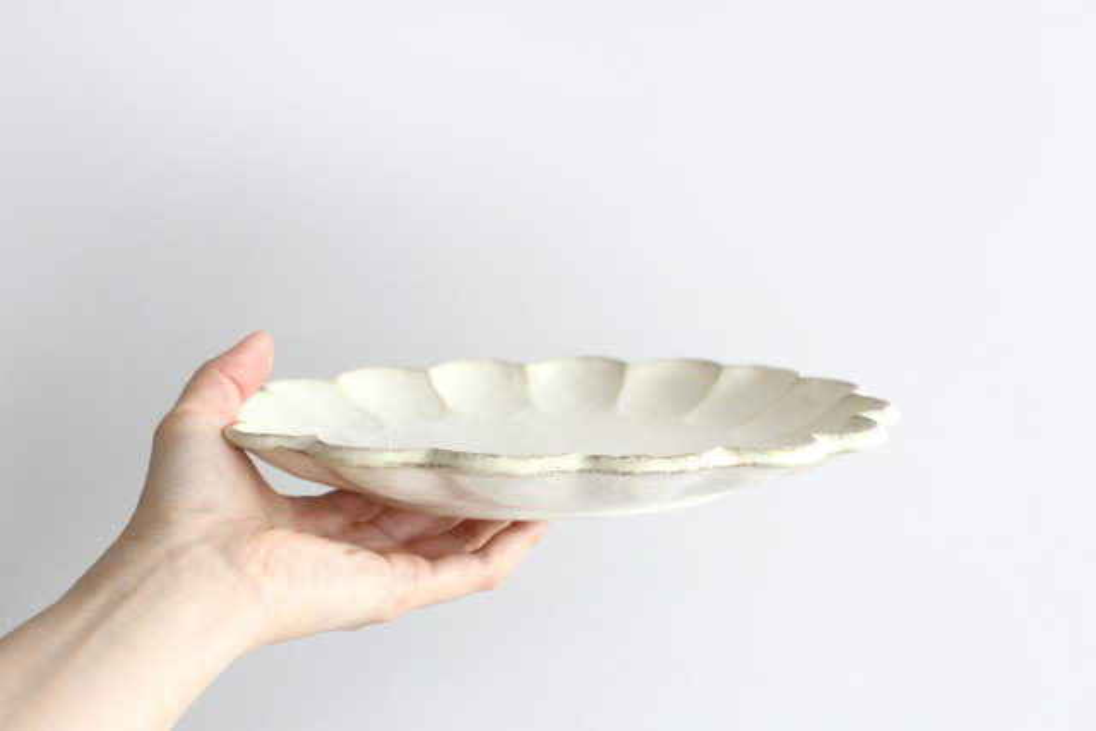 美濃焼 菊花 8寸皿 白 磁器 画像6