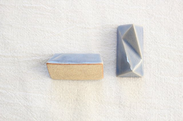 美濃焼 面取箸置 青 陶器  画像4