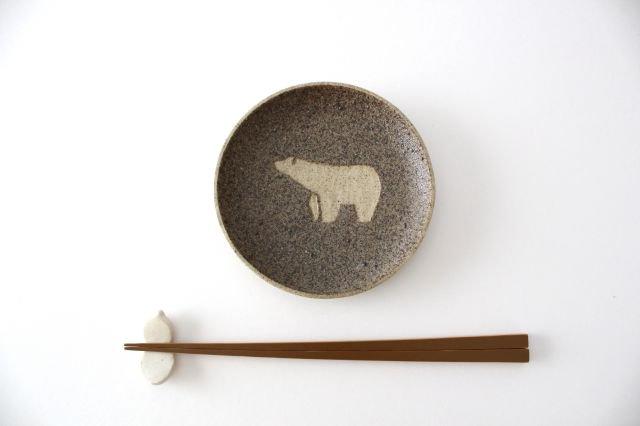 小皿 小 シロクマ 胡麻色 陶器 苔色工房 田中遼馬 画像4