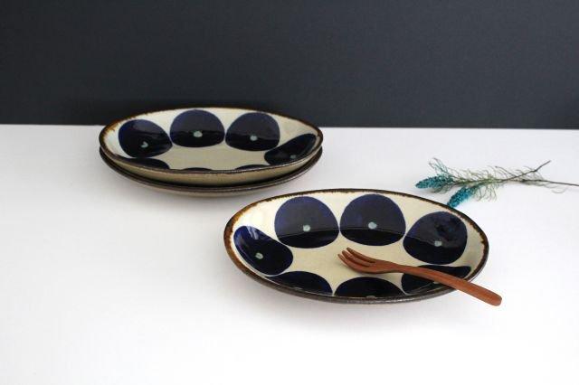 オーバル皿 青丸紋 陶器 エドメ陶房 やちむん 画像2