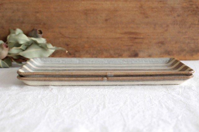美濃焼 ストライププレート グレー 陶器  画像2