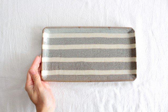 美濃焼 ストライププレート グレー 陶器  画像5