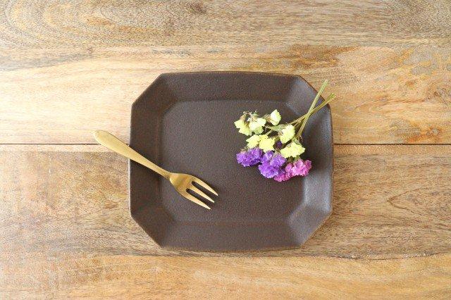 錆釉 8角ケーキ皿 陶器 古谷製陶所