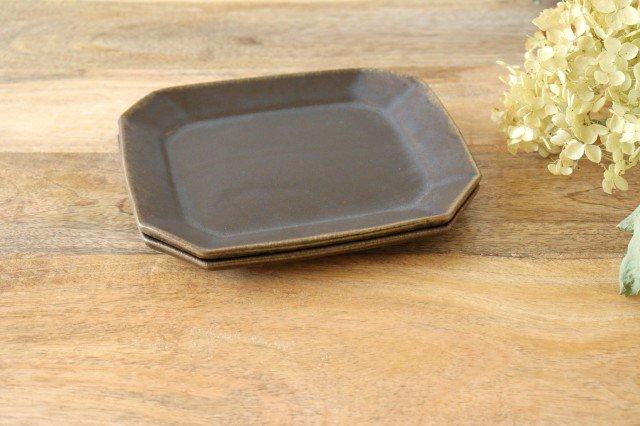 錆釉 8角ケーキ皿 陶器 古谷製陶所 画像3