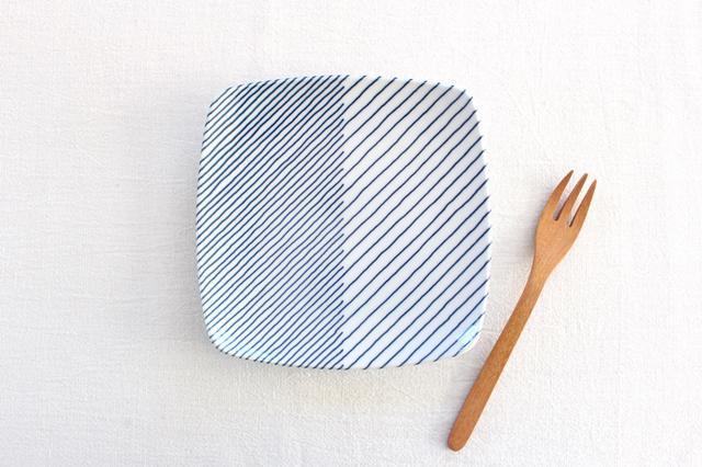 白山陶器 重ね縞 反角中皿 磁器 波佐見焼