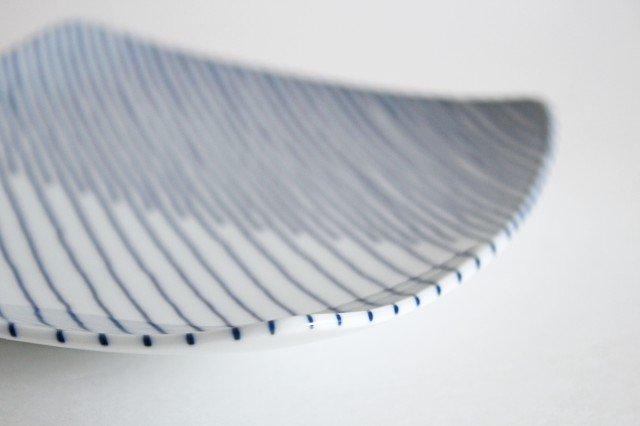 白山陶器 重ね縞 反角中皿 磁器 波佐見焼 画像2