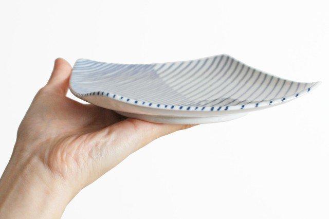 白山陶器 重ね縞 反角中皿 磁器 波佐見焼 画像4