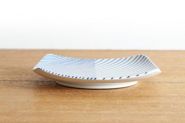 白山陶器 重ね縞 反角中皿 磁器 波佐見焼 画像6