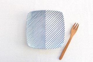 白山陶器 重ね縞 反角中皿 磁器 波佐見焼商品画像