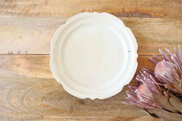 鉄散 7寸彫刻皿 陶器 古谷製陶所
