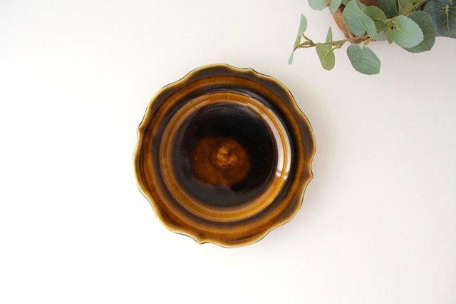 6寸輪花皿 飴釉 陶器 はなクラフト