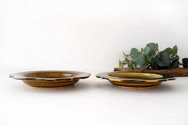 6寸輪花皿 飴釉 陶器 はなクラフト 画像2