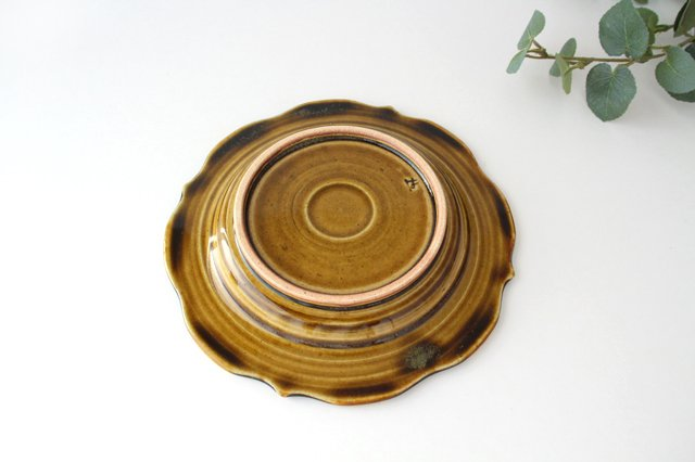 6寸輪花皿 飴釉 陶器 はなクラフト 画像3