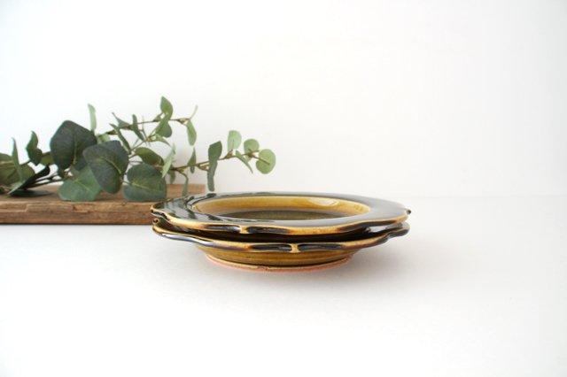 6寸輪花皿 飴釉 陶器 はなクラフト 画像4