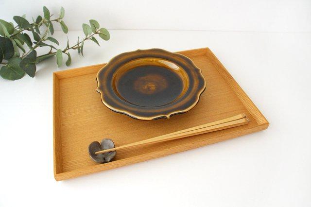 6寸輪花皿 飴釉 陶器 はなクラフト 画像5