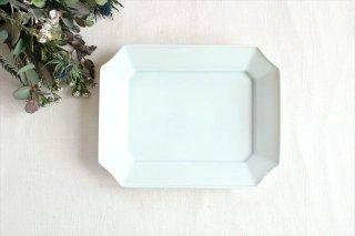 美濃焼 瑞々 すみきり角皿 青白 磁器 商品画像