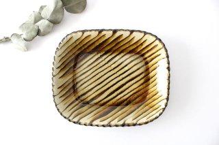 スリップウェア 長角皿 中 キャメル フェザーコーム 【A】 陶器 柳瀬俊一郎商品画像