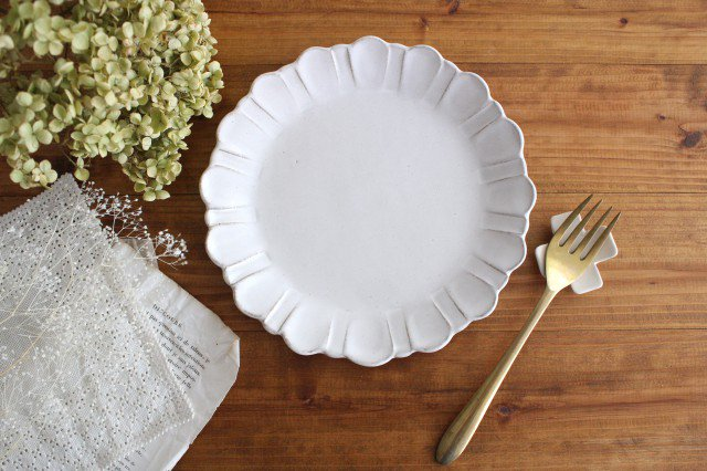 美濃焼 モチーフ ガーベラ 7寸皿 陶器