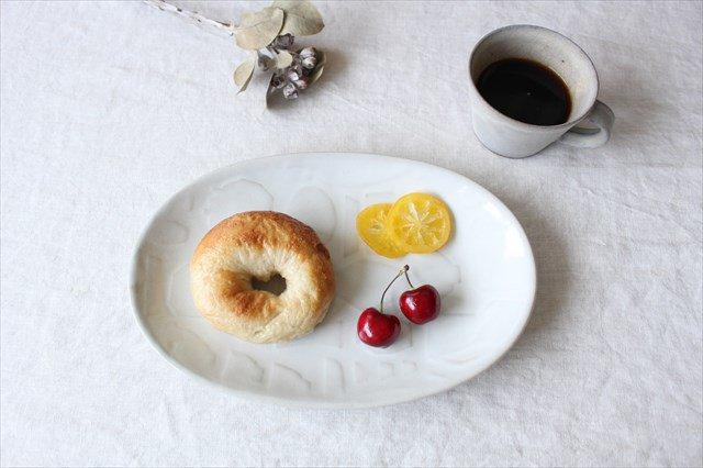 益子焼 レリーフ オーバルプレート 糠白釉 陶器 画像4