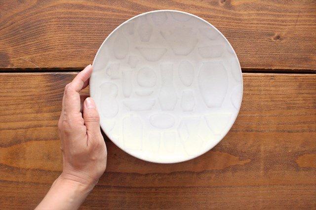 益子焼 レリーフ マルチプレート 糠白釉 陶器 画像5