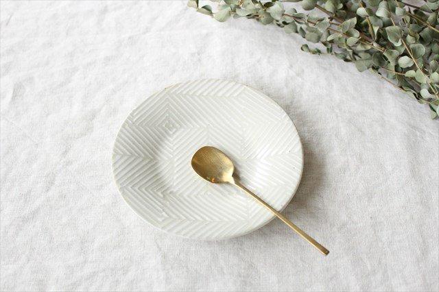 波佐見焼 ORIME ヘリンボーン 4寸丸皿 ホワイト 陶器 画像2
