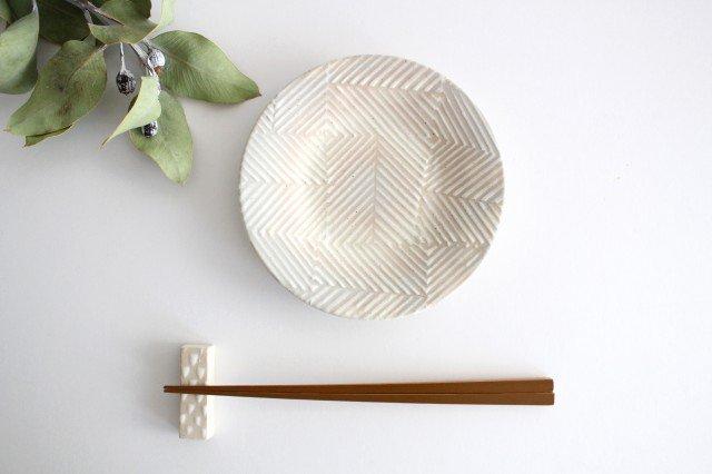 波佐見焼 ORIME ヘリンボーン 4寸丸皿 ホワイト 陶器 画像4