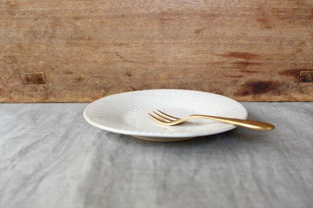 波佐見焼 ORIME ヘリンボーン 4寸丸皿 ホワイト 陶器 画像5