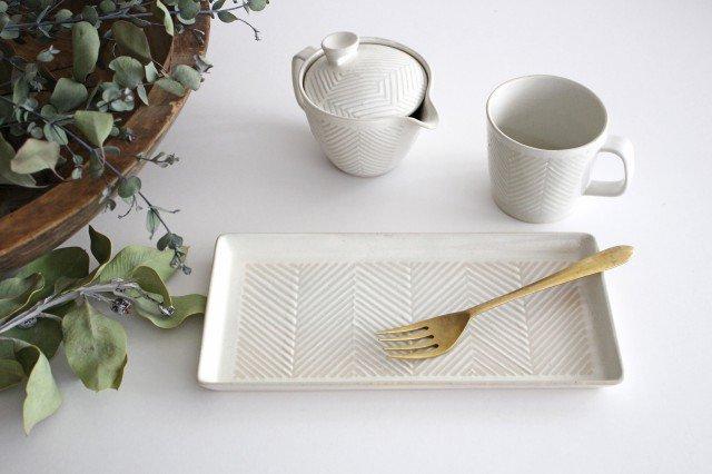 波佐見焼 ORIME ヘリンボーン 長角皿 ホワイト 陶器 画像6