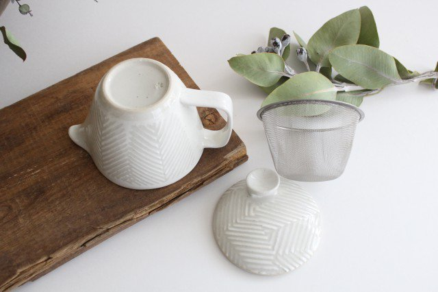 波佐見焼 ORIME ヘリンボーン ポット ホワイト 陶器 画像3