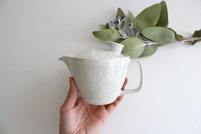 波佐見焼 ORIME ヘリンボーン ポット 中 ホワイト 陶器 画像3