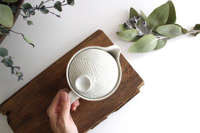 波佐見焼 ORIME ヘリンボーン ポット ホワイト 陶器 画像4