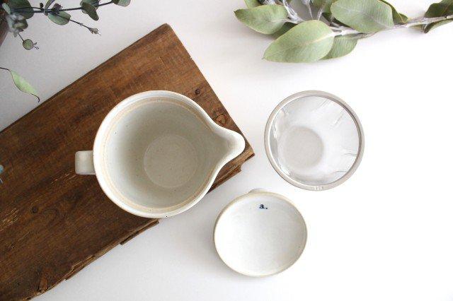 波佐見焼 ORIME ヘリンボーン ポット 中 ホワイト 陶器 画像5