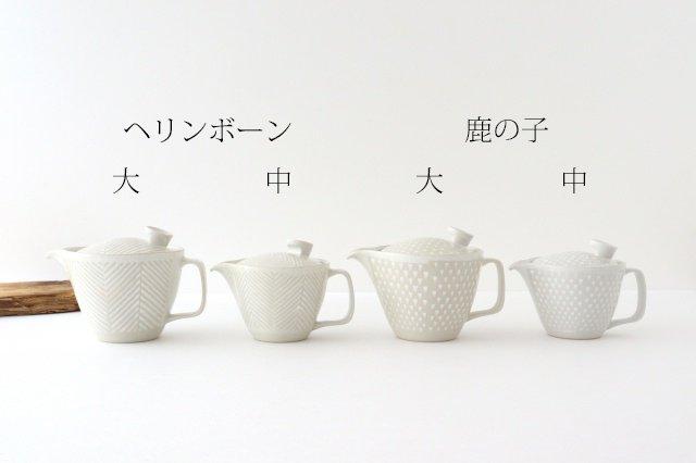 波佐見焼 ORIME ヘリンボーン ポット 中 ホワイト 陶器 画像6