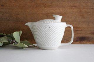 波佐見焼 ORIME ヘリンボーン ポット 中 ホワイト 陶器商品画像