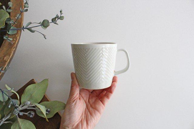 波佐見焼 ORIME ヘリンボーン マグカップ ホワイト 陶器 画像4