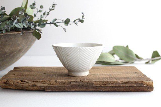 波佐見焼 ORIME ヘリンボーン 茶碗 ホワイト 陶器