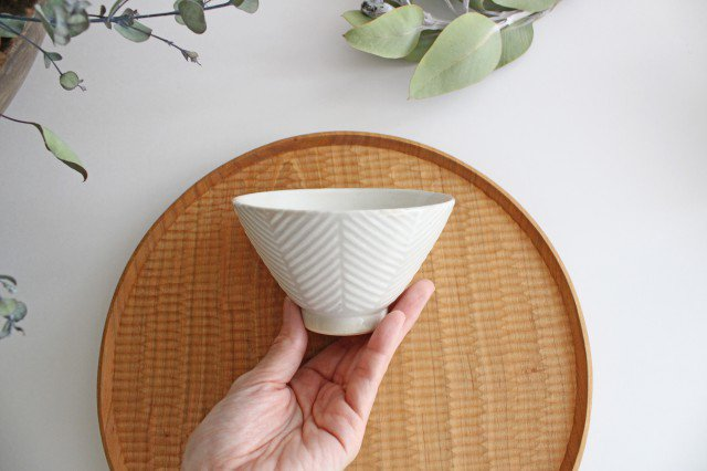 波佐見焼 ORIME ヘリンボーン 茶碗 ホワイト 陶器 画像4