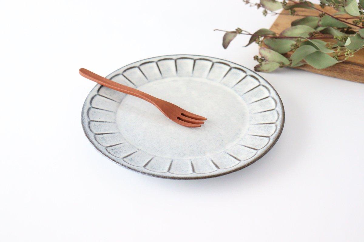 美濃焼 削ぎ目大皿 グレー 陶器 画像2