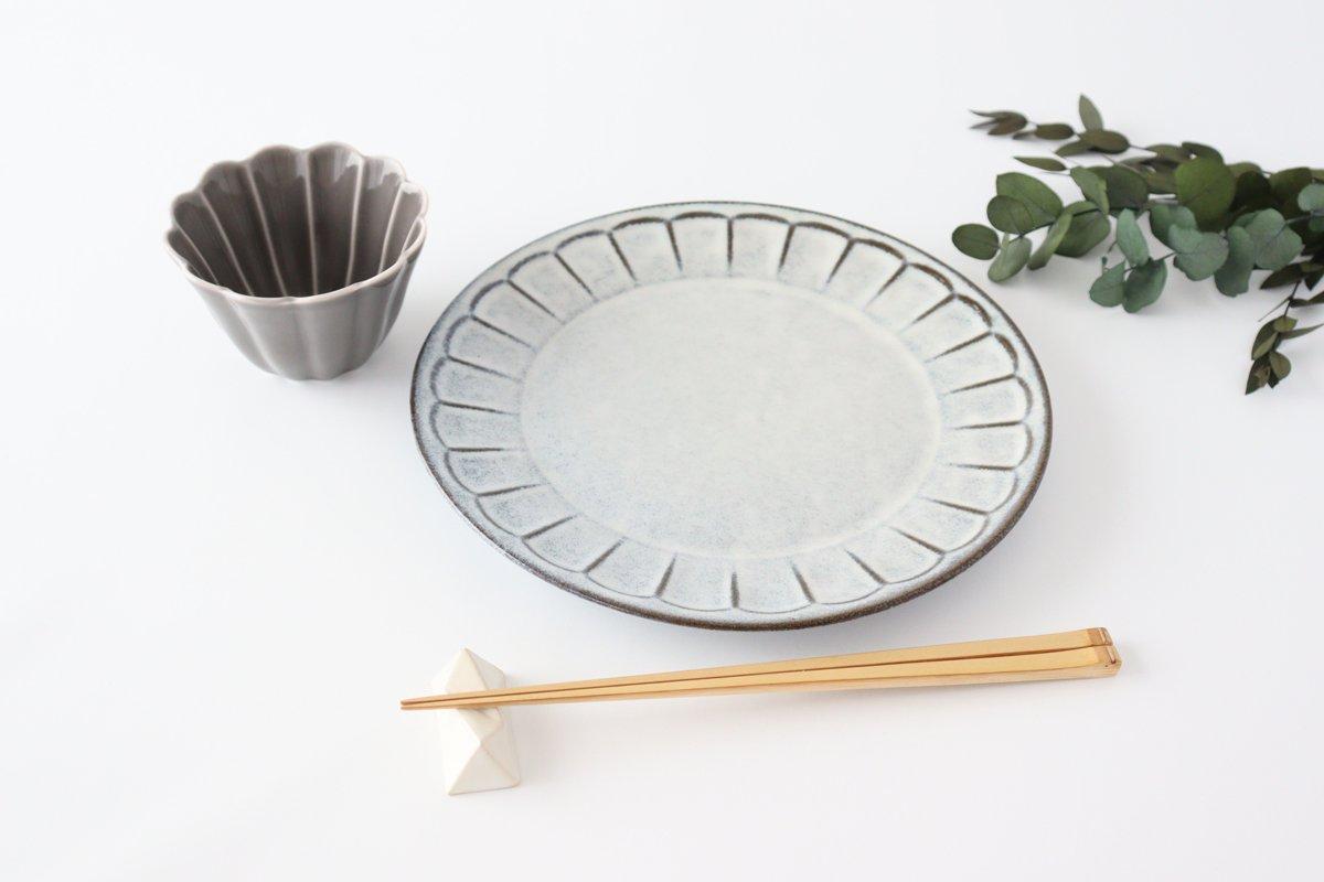 美濃焼 削ぎ目大皿 グレー 陶器 画像5