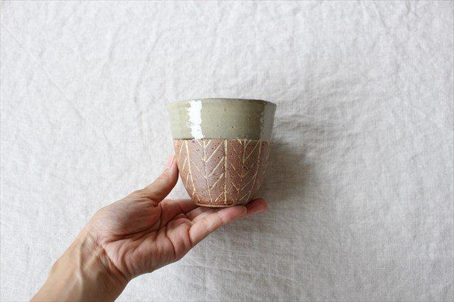 象嵌フリーカップ 矢羽 陶器 工房コキュ 画像2