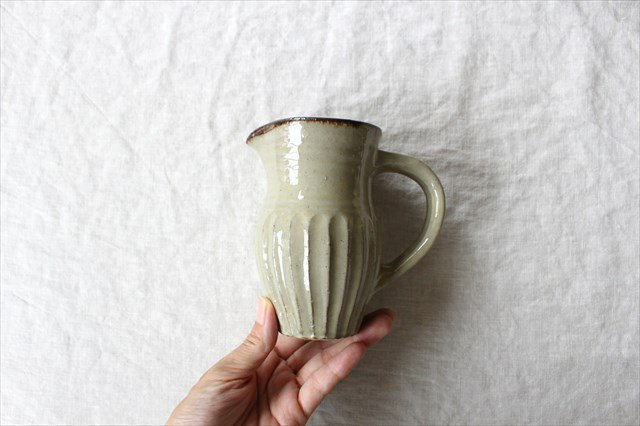 ピッチャー しのぎ 陶器 工房コキュ やちむん 画像2