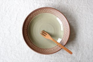 象嵌7寸皿 葉紋 陶器 工房コキュ商品画像