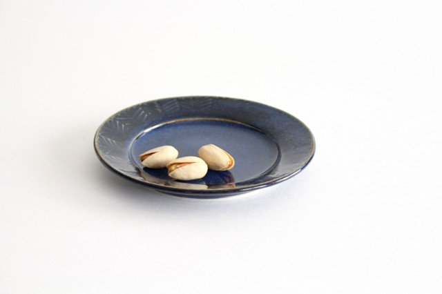 Linda plate S blue 半磁器 アトリエキウト 小出麻紀子