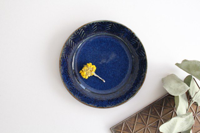 Linda plate S blue 半磁器 アトリエキウト 小出麻紀子 画像2