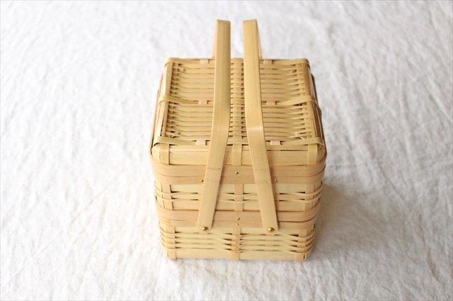二段手付弁当かご 四角 白竹 鹿児島 画像4