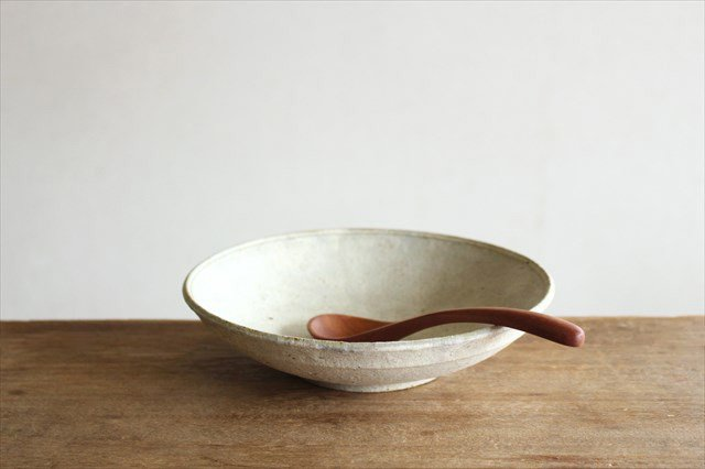 6寸平鉢 粉引 陶器 恵山 小林耶摩人
