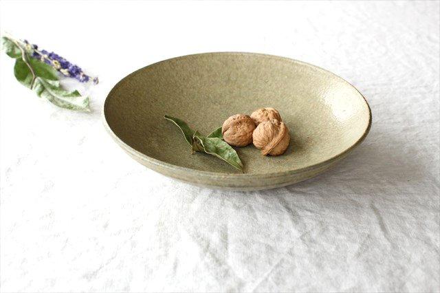 8寸平鉢 灰釉 陶器 恵山 小林耶摩人