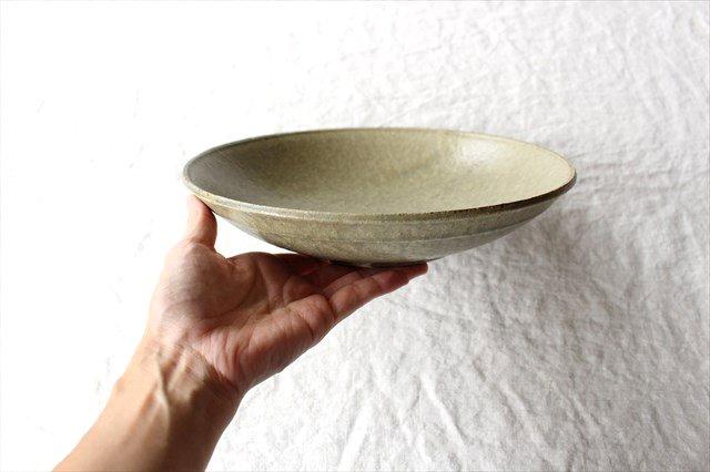 8寸平鉢 灰釉 陶器 恵山 小林耶摩人 画像2