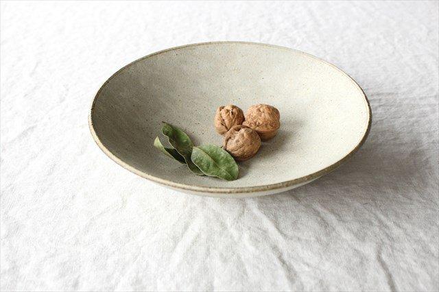 8寸平鉢 粉引 陶器 恵山 小林耶摩人
