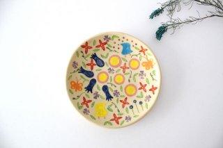 【一点もの】色絵付け丸皿 【G】 陶器 工房双子堂 やちむん商品画像